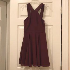 Forevermore Burgundy Skater Dress Lulu's